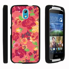 HTC Desire 526G Case SNAP SHELL 3 IN 1 Combo - Slim Hard Fitted Case - Fruity Rose Pattern