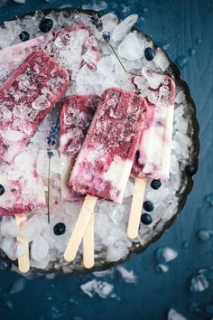 Roasted Blueberry Lavender Popsicles