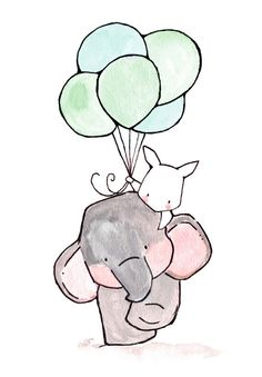 Elephant & Bunny With Green Balloons