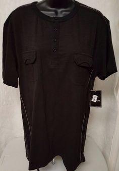Royal Premium NWT Men's Jet Black Color Henley Shirt Size L #RoyalPremium #Henley