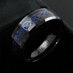 8mm Tungsten Ring Black Celtic Dragon Blue Carbon Fibre Mens