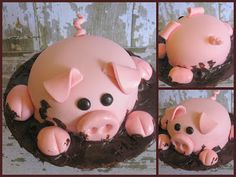 Pig Cake...stinking cute! Molly Z could def make this :)