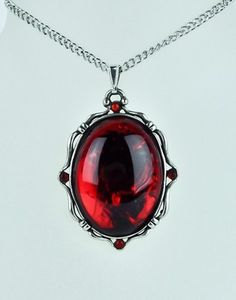 BLOOD RED MOON STONE PENDANT & NECKLACE GOTHIC PUNK VAMP METAL DOOM WITCHY CLUB...pinned by ♥ wootandhammy.com, thoughtful jewelry.