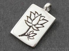 Sterling Silver Lotus in Rectangle Charm / Pendant by Beadspoint, $6.99