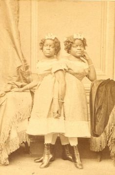 """ca. 1860-1890, [portrait of Millie and Christine McKoy, conjoined twins, billed as """"Millie-Christine, the Two-Headed Nightingale""""]"""