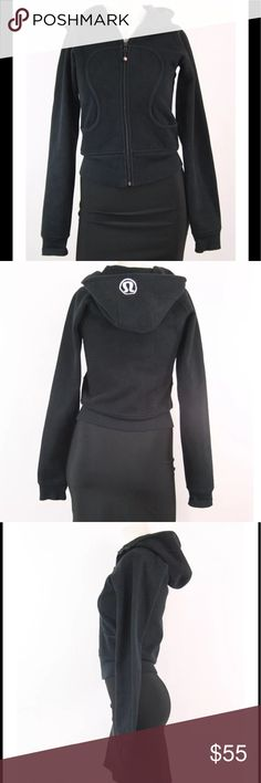 Lululemon Scuba Hoodie in Black Size 4 EUC Condition: Excellent Used Condition, no flaws.   Details:  feel loved and cherished in the thick Cotton Fleece the deep hood and high scuba collar keep your head and neck warm ribbed stretch side panels give you the perfect fit fitted ribbed waistband to stop cold gusts park your zipper in the zipper garage  thumbholes keep sleeves down and make layering   Tech specs: designed for: to-and-from fabric(s): Cotton Fleece properties: preshrunk…