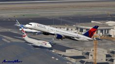 Delta Air Lines B757 in the air, and a British Airways 747 on the ground at LAX Airport - Oct. 2012