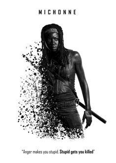 "The Walking Dead Character Splatter Quotes Michonne #Displate artwork by artist ""Xavier Vieira"". Part of a 5-piece set featuring artwork based on characters from the popular The Walking Dead TV series. £40 / $54 per poster (Regular size) #TheWalkingDead #TWD #Walker #Walkers #Zombie #Zombies #AbrahamFord #BethGreene #CarlGrimes #CarolPeletier #DarylDixon #EugenePorter #GlennRhee #Lucille #MaggieGreene #Michonne #Negan #RickGrimes"