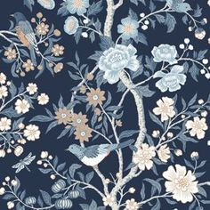 Emily for Lexington is inspired by a fragment of old Cretonne-patterned wallpaper found in a New England archive. Bold tree patterns with birds like these were popular in the USA in the late Emily is printed using an old collograph printing techni Wallpaper Roll, Pattern Wallpaper, Wallpaper Display, Botanical Wallpaper, New England Style, Borders For Paper, Tree Patterns, Blue Wallpapers, Japanese Prints