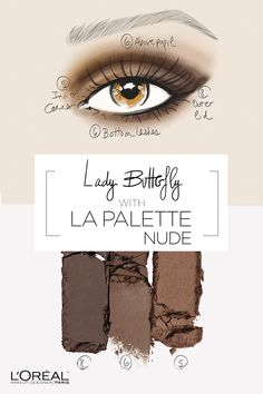 How to use La Palette Nude eyeshadow for the perfect nude eye look. Start by lining the inner corner of the eyes with the shimmering brown shade 5. Then, fill in the lid and brow bone with shade 6 and swipe the dark brown shade 8 on the outside corner of the eye. Complete the look with dusting the outer lid and lash line and then finish with mascara.