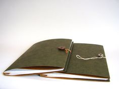 Handsome Olive Notebook with Vintage Button Closure, Hand Stitched, Simple Hand Bound Journal. $17,00, via Etsy.