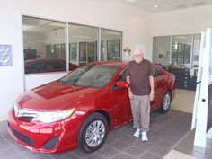 Wesley with his #CandyAppleRed #Camry -- Welcome to the #DavidMausToyota Family! -- Lookin' good! #ToyotaCamry #WhateverItTakes #Sedan