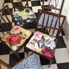 My new old chairs, my husband and I just finished re-upholstery job.i If my chairs could speak I am sure they would have some stories to tell... #fabric #designersguild #octavia #chairs #colour #interior