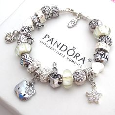 Authentic Pandora Silver Bracelet with Charms White Hello Kitty Heart Love New #AuthenticPandoraBraceletwithUnbrandedCharms #European