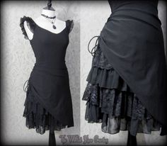 Gothic Romantic Lacey Black Bustle Effect Hitched Dress 10 Steampunk Victorian | THE WILTED ROSE GARDEN