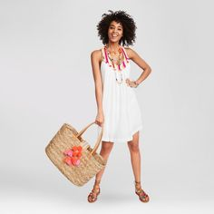 Women's Racerback Baby Doll Dress - Merona White S/M Babydoll Dress, Baby Dolls, Straw Bag, Lifestyle, Blog, Shopping, Dresses, Fashion Beauty, Heart
