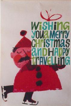 Vintage Christmas poster by British artist, Karo, c.1960.