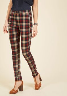 Slow and Edgy Wins the Race Pants in Red Plaid - Red, Blue, Tan / Cream, Plaid, Casual, 90s, Scholastic/Collegiate, Fall, Variation, Ankle, Winter, Red, Print, Buttons, Work, Holiday, Holiday Party, Menswear Inspired, Vintage Inspired, 50s, 60s, Rustic, Skinny, Good, Exclusives, Mid-Rise, Saturated, Under 50 Gifts, Holiday Gifts, Knit