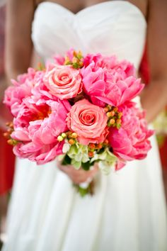 beautiful bright pink bridal bouquet... peonies and roses!