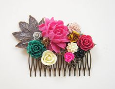 Pink Green Wedding Hair Comb Indie Teal Red Autumn Emerald Green Floral Hair Slide Flower Bridal Hair Accessories Headpiece Nature Rustic WR