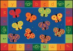 123 ABC Butterfly Preschool Rug 7'8 x 10'10