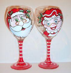 Hand Painted Wine Glasses Mr. & Mrs. Santa by SharonsCustomArtwork