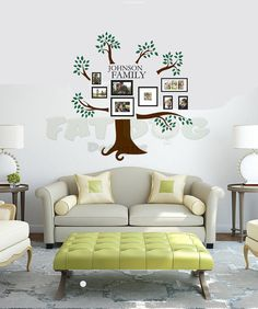 Multi-Colored Family Tree Photo Gallery Display with Name Removable Wall Decal  This design is perfect for displaying your beloved family photos in the kitchen dining room, living room, or anywhere else!  It can also be used in a office to display awards, diplomas, or other