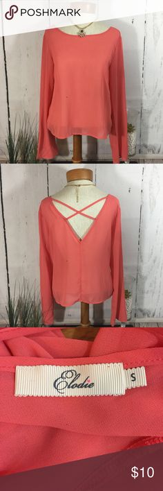 Elodie Long Sleeves Top Pink Small Elodie Long Sleeves Top Size: Small  Care Tag - Pictured   If you see a small black speck on the picture it is not a stain. I take pictures from my iPhone and that appears 😔  If you have any questions please feel free to ask me. Elodie Tops Tees - Long Sleeve