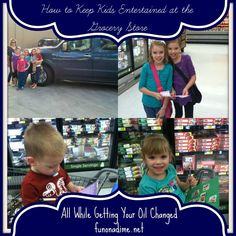 How to Entertain kids at the grocery store all while getting your oil changed! #dropshopandoil #ad