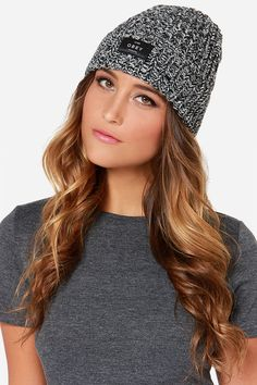 Obey Maywood Ivory and Black Knit Beanie at LuLus.com!