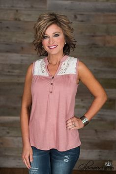 Walk In The Park Tank is cute as a button! This light pink and ivory striped tank features a stand alone collar with a v-neckline and three button placket. Summer Outfits, Casual Outfits, Cute Outfits, Fashion Outfits, Womens Fashion, Fashion Ideas, Middle Age Fashion, Glamour Farms, Dress To Impress