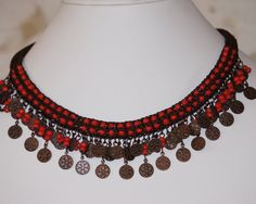 Cornelia Coral Spool Knit Necklace by PaHaRa on Etsy, $42.00