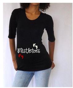 "Christmas Maternity T-shirt/Tee "" Mistletoes"" Stylish 3/4 sleeves -Maternity Christmas Shirt on Etsy, $24.99"