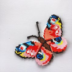 DIY Butterfly hama perler beads by sofiieg Hama Beads Design, Diy Perler Beads, Perler Bead Art, Fuse Bead Patterns, Perler Patterns, Beading Patterns, Pixel Art, Skins Minecraft, Art Perle