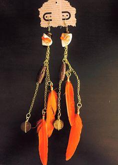 aaseagypsy jewels; orange wood feather festival earrings;