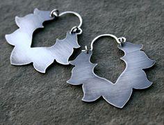 Lotus Earrings Solid Sterling Silver Art Jewelry by KiraFerrer, $85.00