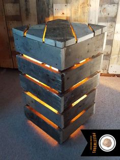 Pallet Light // Lamp // Bedside Table. Reclaimed by PalletWorksUK