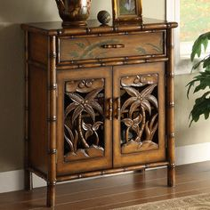 Tropical Palm Tree Storage Cabinet - awesome side table.