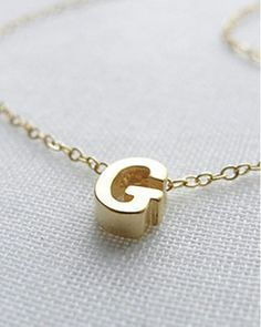 Tiny Gold Capital Initial Necklace