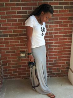 Grey maxi skirt, white v neck tee