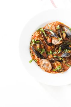 Italian Holiday Table: Sausage and Mussel Risotto and White Chocolate Pomegranate Bark