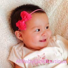 Hot Pink Baby headband, baby headband bow, elastic headband, flower headband, girl headband, headband, child headband. $5.95, via Etsy.