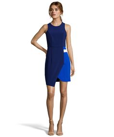blue and white colorblocked asymmetrical sheath dress