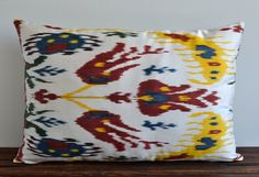 Ikat Pillow Cover 16x24 Handwoven Silk Floral Colorful