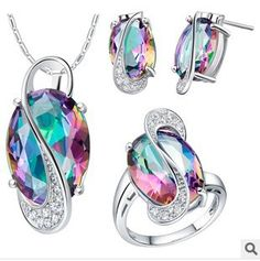 2014 fashion Jewelry Sets 925 Sterling Color Crystal Seven stones  contain Necklace Earring Ring $15.00/piece  (bride bridesmaid  necessary)