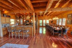 Gorgeous kitchen and dining area, in cabin 4188 at Hidden Mountain Resorts