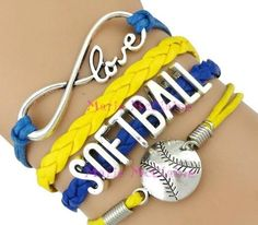 Softball Bracelet - Blue/Yellow Love this Softball Room, Softball Party, Softball Gifts, Softball Quotes, Softball Pictures, Softball Players, Girls Softball, Fastpitch Softball, Softball Stuff