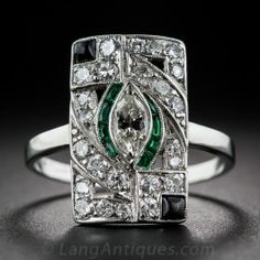 Art Deco Platinum Diamond and Emerald-Green Glass with Onyx Dinner Ring - Everything - Vintage Jewelry