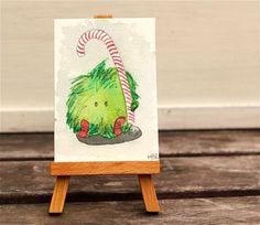 christmas monster greeting card original watercolor painting,