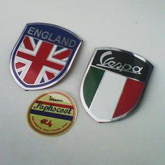 Badge vespa, italy, england.